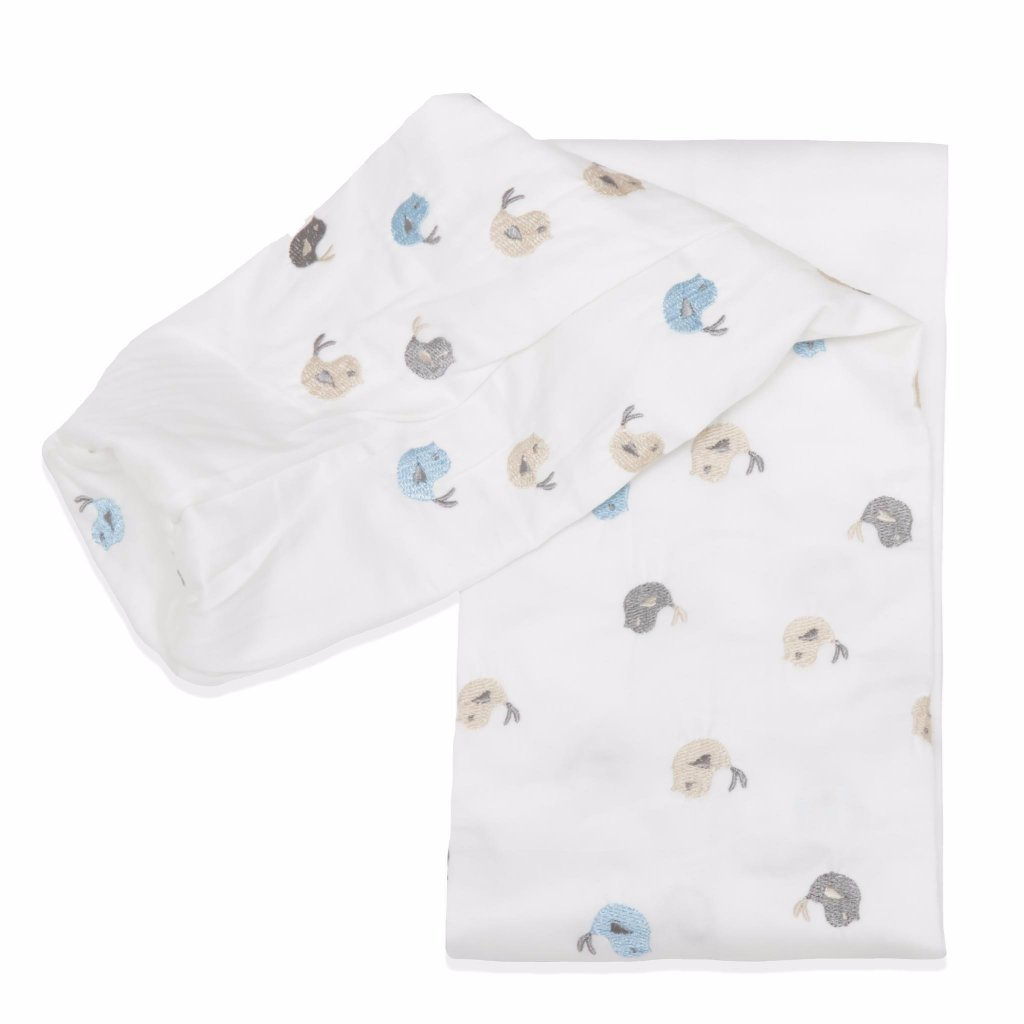 Embroidered Blue Baby Birds Cordless Cot Bumper Cover