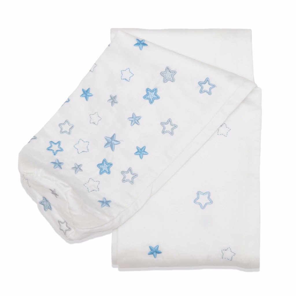 Embroidered Blue Stars Cordless Cot Bumper Cover