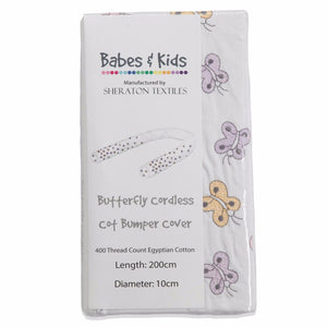 Embroidered Butterflies Cordless Cot Bumper Cover in packaging
