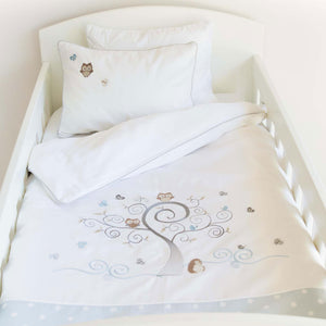 Baby Owl Egyptian Cotton Baby Duvet Cover Set - blue polka dot
