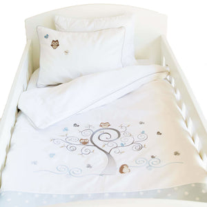 Owl Cot Set - blue polka dot