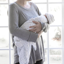 100% Cotton Pink and Grey Stars Muslin Swaddle