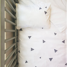 Triangle Cot Duvet Set (black) - Babes & Kids Cot Baby Bedding