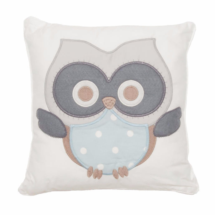 Baby Owl Scatter Cushion (blue) - Babes & Kids Cot Baby Bedding