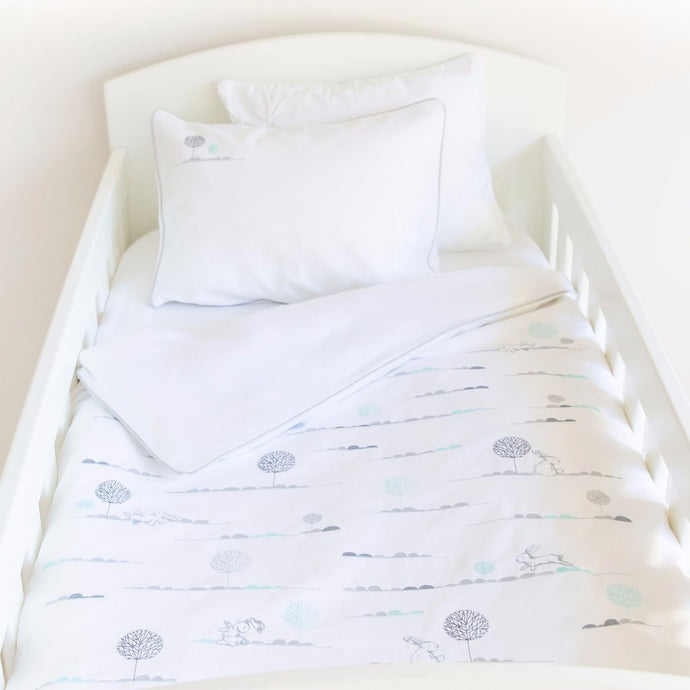 Bunny Hop Egyptian Cotton Baby Duvet Cover Set