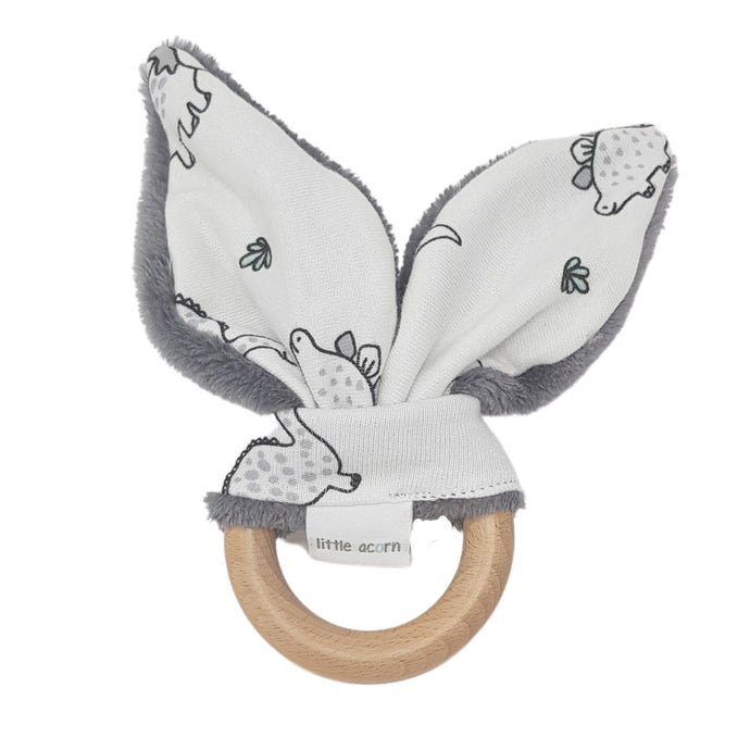 little acorn | Dinosaurs Wooden Teether (grey or white)