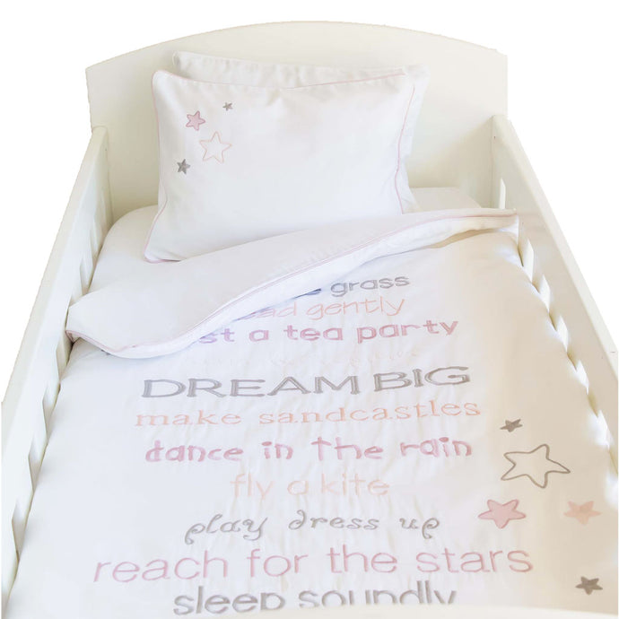 Dream Big Egyptian Cotton Baby Duvet Cover Set - pink (80x120cm)