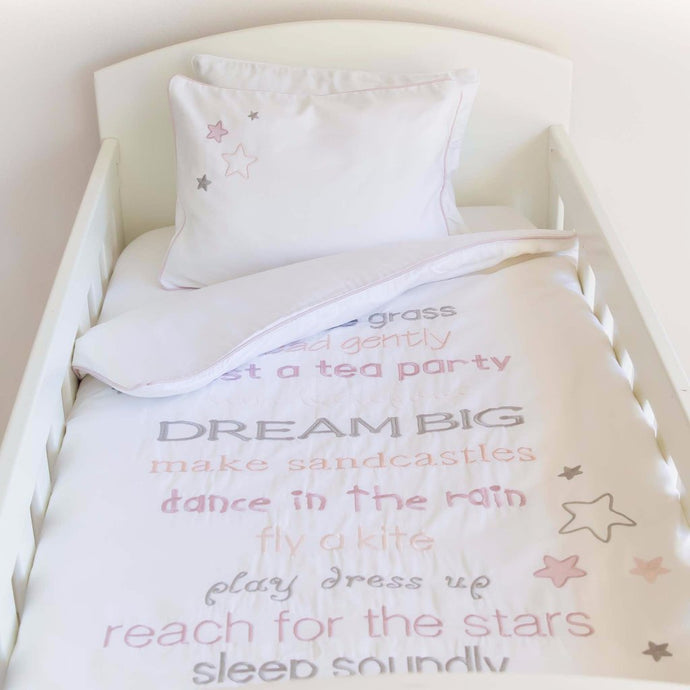 Dream Big Egyptian Cotton Baby Duvet Cover Set - pink