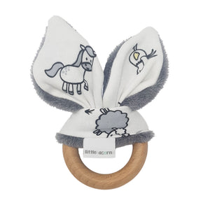 little acorn | Farmyard Wooden Teether (grey or white)