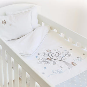 Owl Cot Duvet Set - blue polka dot - Babes & Kids Cot Baby Bedding