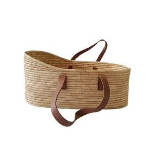 Moses Basket - Genuine Leather Handles - Babes & Kids Cot Baby Bedding