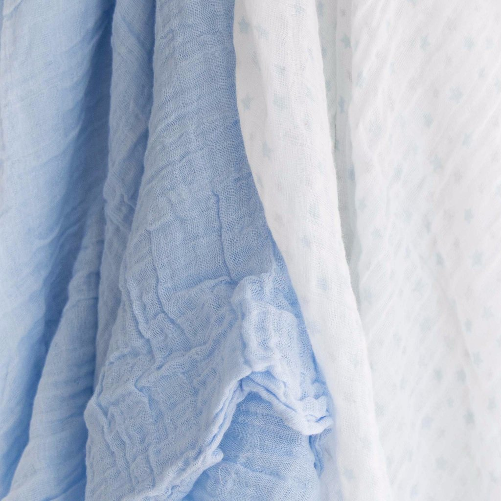 100 Cotton Muslin Cloth Swaddle Blanket Gift Set Blue