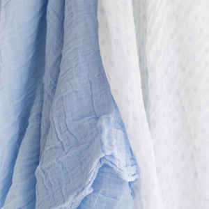100% Cotton Muslin Cloth/Swaddle Blanket Gift Set (blue) hanging