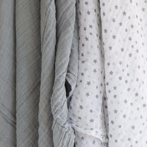 100% Cotton Muslin Cloth/Swaddle Blanket Gift Set (grey) hanging