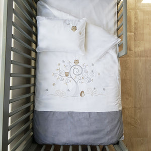 Owl Cot Duvet Set -  charcoal grey - Babes & Kids Cot Baby Bedding