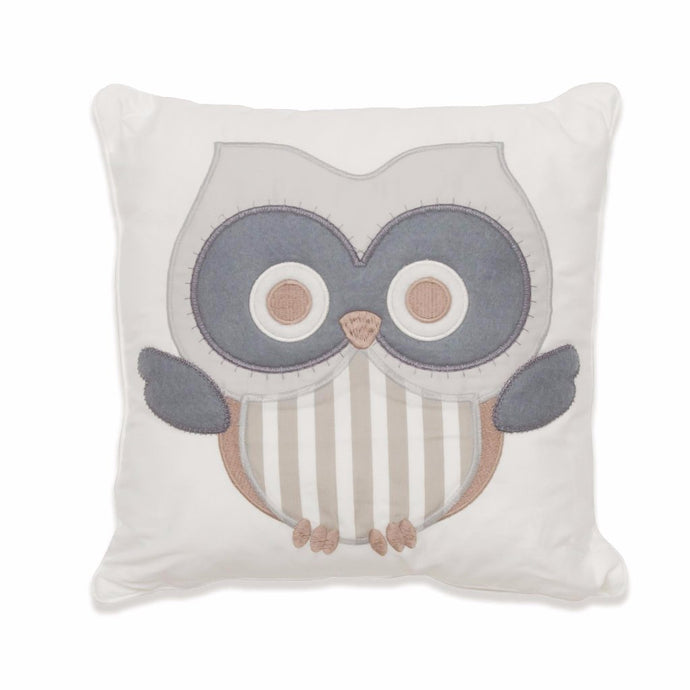 Baby Owl Scatter Cushion (neutral) - Babes & Kids Cot Baby Bedding