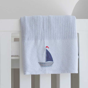 Sail Away Cellular Cotton Baby Blanket in cot