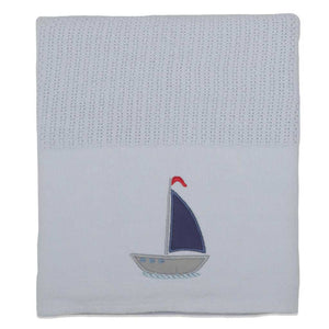 Sail Away Cellular Cotton Baby Blanket - Babes & Kids Cot Baby Bedding