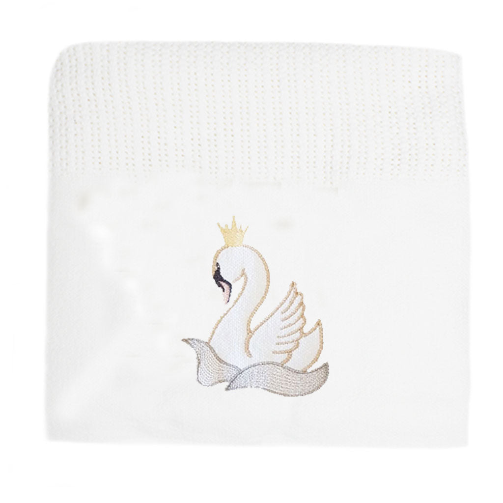 Graceful Swan Cellular Cotton Baby Blanket