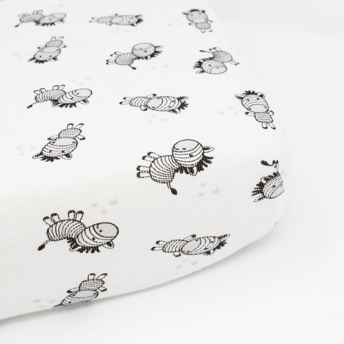 little acorn | Zany Zebra Cot Fitted Sheet - Babes & Kids Cot Baby Bedding