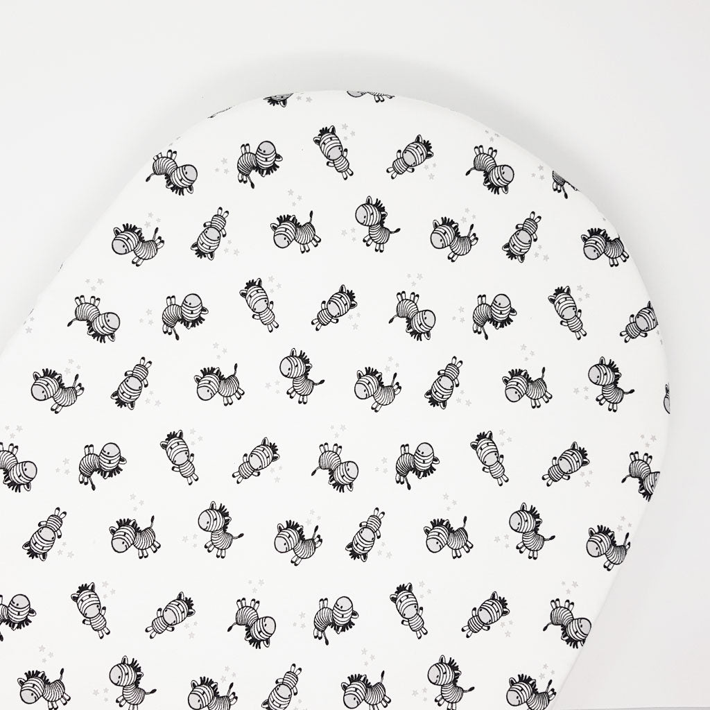 little acorn | Moses Basket Zany Zebra Cot Fitted Sheet - Babes & Kids Cot Baby Bedding