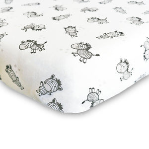 little acorn | Zany Zebra Cot Fitted Sheet