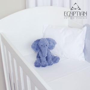 Egyptian Cotton Cot Fitted Sheet - White (66x132cm) in cot