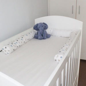Baby Birds Cot Bumper Cover - blue