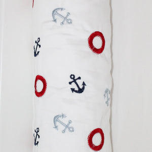 Embroidered Sail Away Cordless Cot Bumper Cover (cover only)