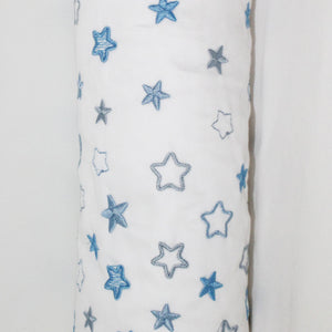 Embroidered Blue Stars Cordless Cot Bumper Cover (cover only)
