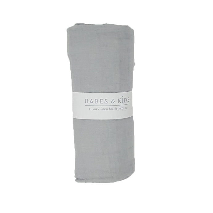 100% Cotton Grey Muslin Wrap (120x120cm) - Babes & Kids Cot Baby Bedding