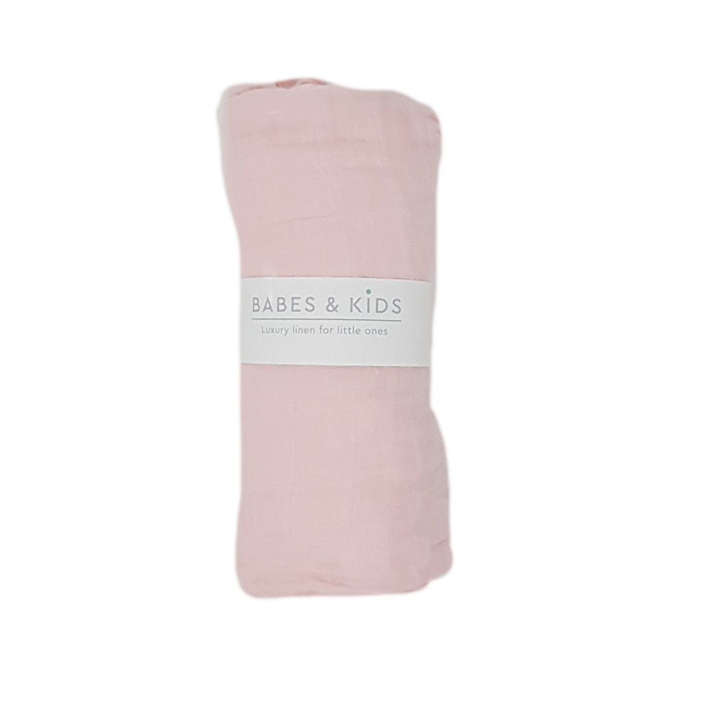 100% Cotton Pink Muslin Wrap (120x120cm) - Babes & Kids Cot Baby Bedding