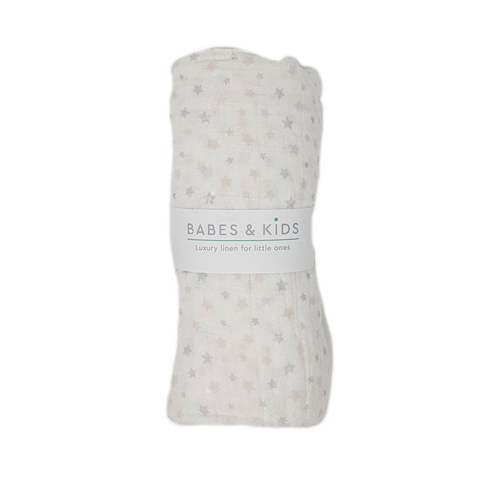 100% Cotton Pink and Grey Stars Muslin Wrap (120x120cm) - Babes & Kids Cot Baby Bedding