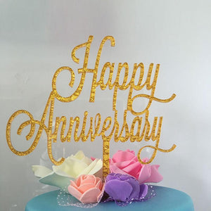 Golden Glitter Happy Anniversary Acrylic Cake Topper