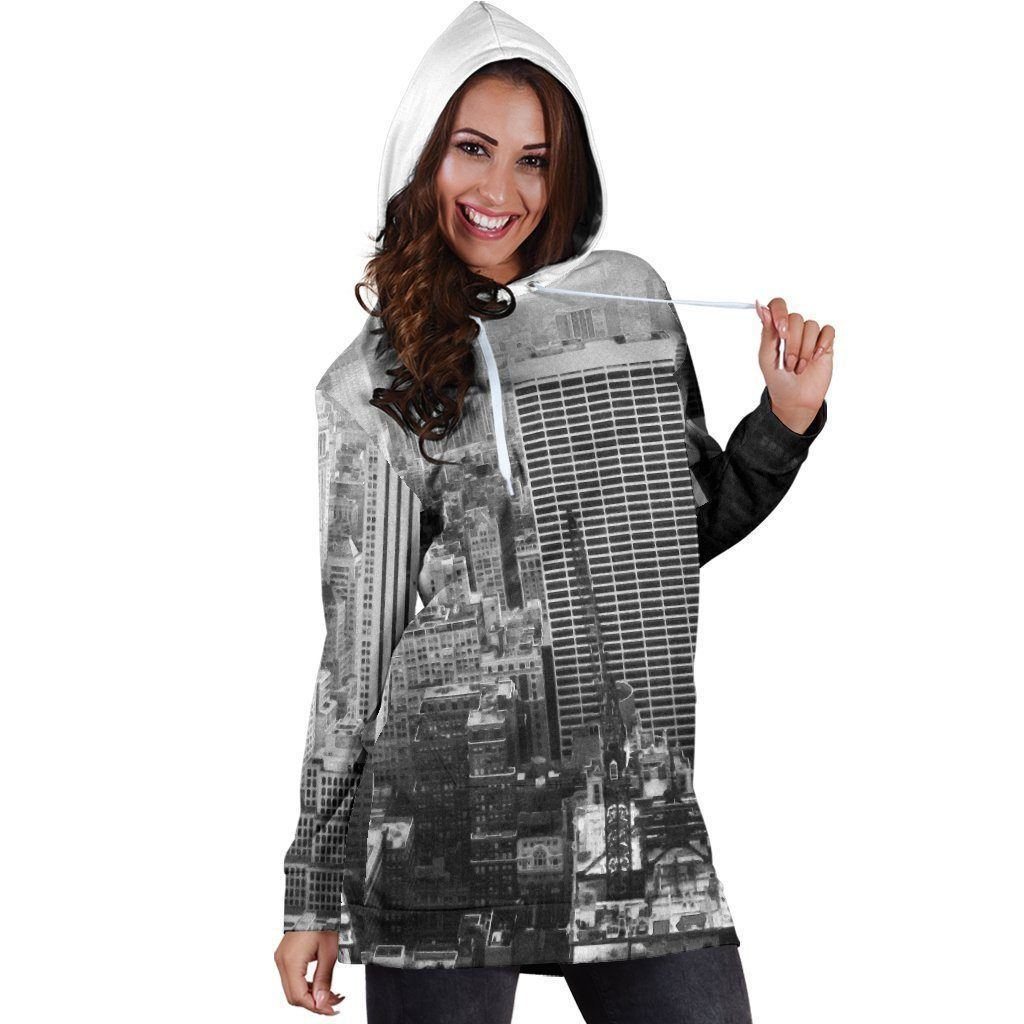 New York Print Women's Hoodie Dress