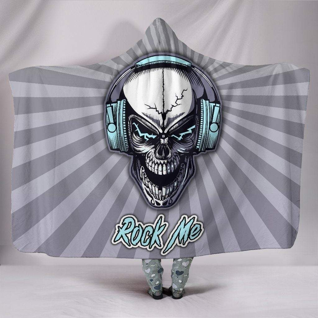Rock Me Skull Headphones Hooded Blanket For Music Freaks