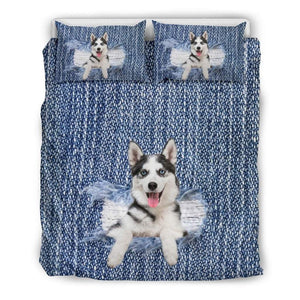 Siberian Husky Break The Wall Bedding Set