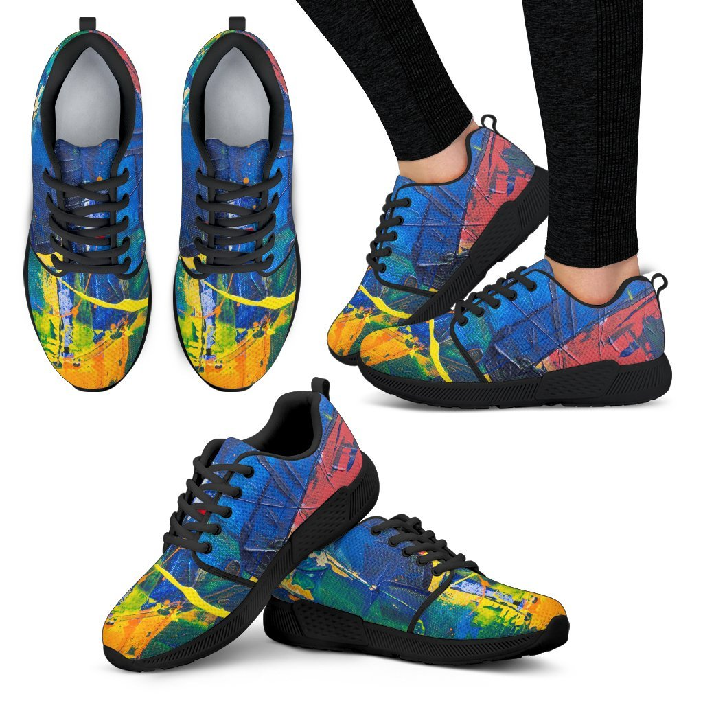 Women's Athletic Sneakers, Colorful Paint Motif