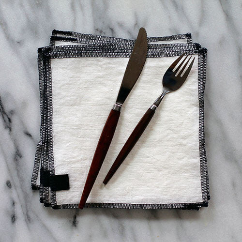 White + Navy Everyday Napkin