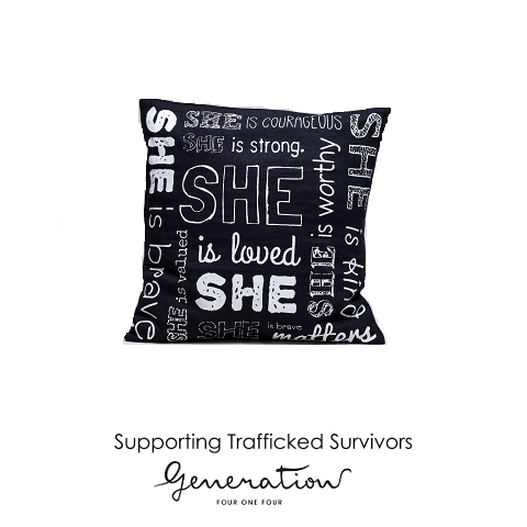 """She Is"" 100% Cotton Cushion Cover (Black or White Design)"