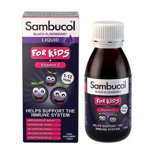 Sambucol Natural Black Elderberry for Kids | Vitamin C | Immune Support Supplement | 120ml