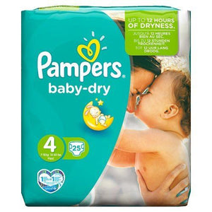 Pampers Baby-Dry Size 4 Maxi 7-18kg/15-40lbs | 25 Nappies