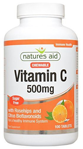 Natures Aid Vit C - 500mg Chewable (with Rosehips & Citrus Bioflavonoids) 100 Tabs