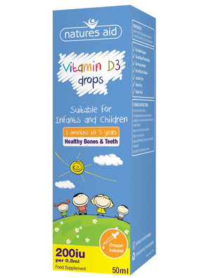 Natures Aid (3 months-5 years) Vitamin D3 200iu Mini Drops for infants & children 50ml