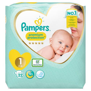 Pampers Premium Protection New Baby Size 1 Carry Pack | 22 Nappies
