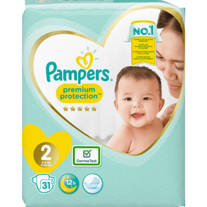Pampers Premium Protection New Baby Size 2 Carry Pack | 31 Nappies