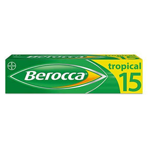 Berocca Energy Vitamin Tablets Tropical Flavour, High Dose of Vitamin B Complex, Vitamin B12, Also Contains Vitamin C and Magnesium, 15 Tablets - 2 Weeks Supply