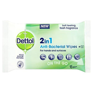 Dettol 2-in-1 Antibacterial Wipes | For Hands & Surfaces