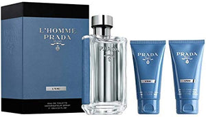 Brand new Prada Prada L'Homme L'Eau Gift Set 100ml EDT + 75ml Shower Cream + 75ml Facial Cleanser