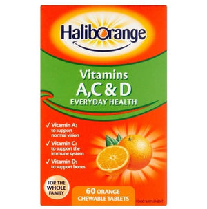Haliborange Kids Vitamins A, C & D | 60 Orange Chewable Tablets